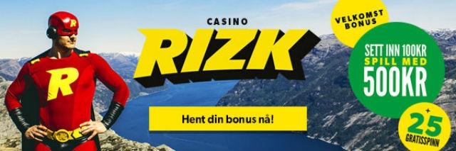 Rizk Casino tilbyr enda bedre velkomstbonus!